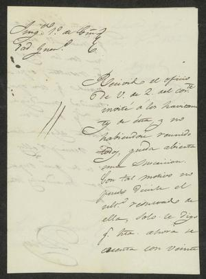 Primary view of object titled '[Letter from Miguel Benavides to the Laredo Alcalde, November 5, 1832]'.