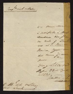 Letter from José María Salinas to the Laredo Alcalde, September 27, 1831]