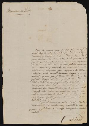 Primary view of object titled '[Letter from José Juan Sanchez to the Laredo Alcalde, February 14, 1837]'.