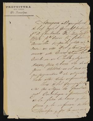 Primary view of object titled '[Letter from Jesus Cárdenas to Justice of the Peace Ramón, October 28, 1841]'.