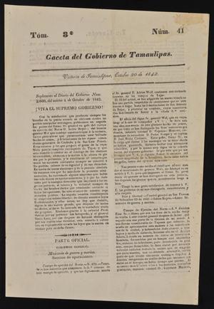 Primary view of Gaceta del Gobierno de Tamaulipas, Tomo 3, Número 41, Octubre 20 de 1842