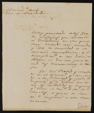 Primary view of object titled '[Letter from Comandante Lafuente to the Laredo Justice of the Peace, July 12, 1841]'.