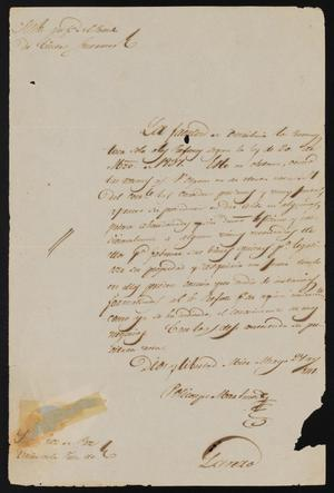 Primary view of object titled '[Letter from Policarzo Martinez to the Laredo Justice of the Peace, May 27, 1841]'.