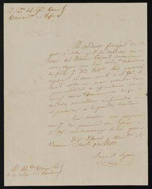 Primary view of object titled '[Letter from Juan Nepomuceno Seguín to the Laredo Justice of the Peace, November 4, 1840]'.