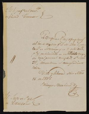 Primary view of [Letter from Policarzo Martinez to the Laredo Justice of the Peace, March 16, 1841]