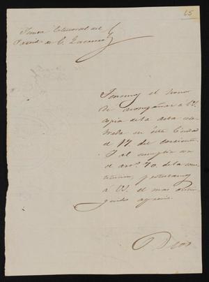 Primary view of [Letter to the Laredo Ayuntamiento]