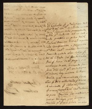 Primary view of [Letter from from Rafael Uribe to the Alcalde in Laredo, July 12, 1829]