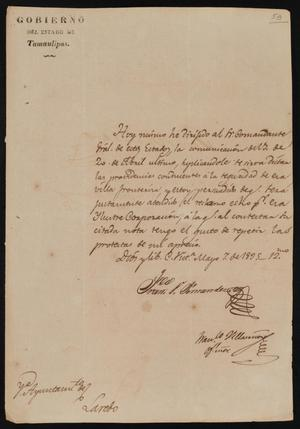 Primary view of [Letter from Governor Fernandez to the Laredo Alcalde, May 7, 1835]