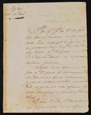 Primary view of object titled '[Letter from Policarzo Martinez to Justice of the Peace Ramón, January 31, 1841]'.