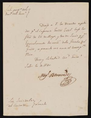 Primary view of object titled '[Letter from Miguel Benavides to Justice of the Peace García, July 20, 1840]'.