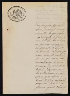 Primary view of [Letter from S. Quintanilla to the Laredo Justice of the Peace, September 6, 1838]