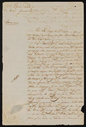 Primary view of object titled '[Circular from Policarzo Martinez to the Laredo Justice of the Peace, May 26, 1841]'.