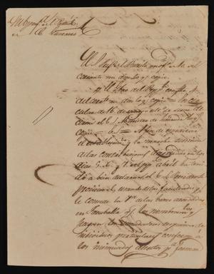 Primary view of [Letter from Policarzo Martinez to the Laredo Ayuntamiento, June 15, 1842]