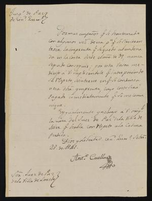 Primary view of object titled '[Letter from Antonio Cuellar to the Laredo Justice of the Peace, September 28, 1841]'.