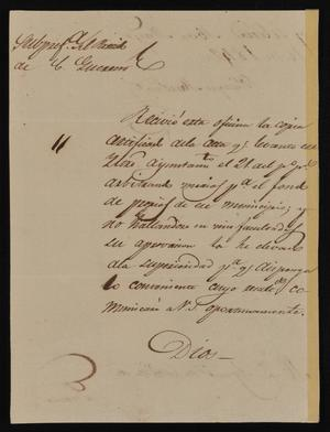 Primary view of object titled '[Letter from Policarzo Martinez to the Laredo Ayuntamiento, May 16, 1842]'.