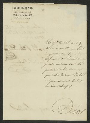 Primary view of [Letter from the Governor to the Laredo Ayuntamiento, October 13, 1832]