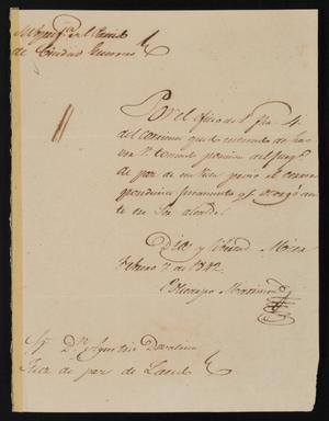 Primary view of object titled '[Letters from Policarzo Martinez to Laredo Officials, February 7, 1841]'.