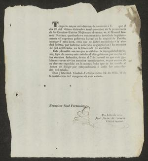 Primary view of [Letter from the Governor of Tamaulipas to the Laredo Ayuntamiento, January 12, 1833]