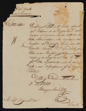 Primary view of object titled '[Circular from Policarzo Martinez to the Laredo Ayuntamiento, January 3, 1841]'.