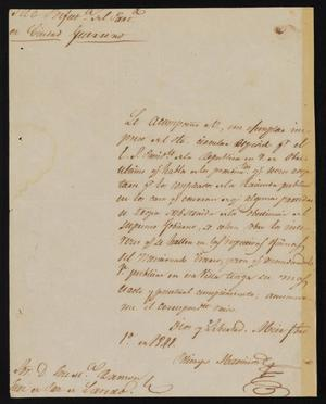 Primary view of object titled '[Letter from Policarzo Martinez to Justice of the Peace Ramón, February 1, 1841]]'.