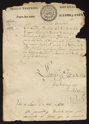 Primary view of object titled '[Letter Jose Miguel Cameros to the Laredo Alcalde, February 11, 1830]'.