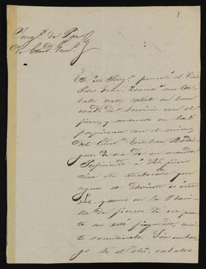 Primary view of object titled '[Letter from Alejo Gutierrez to the Laredo Justice of the Peace, May 18, 1841]'.