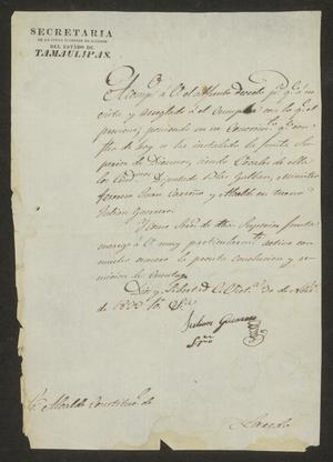 Primary view of [Letter from Julian Guerrero to the Laredo Alcalde, November 30, 1833]