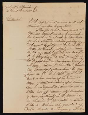 Primary view of object titled '[Circular from Policarzo Martinez to the Laredo Justice of the Peace, December 7, 1841]'.