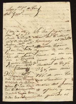 [Letter from Santiago Vela to the Laredo Alcalde, September 15, 1831]