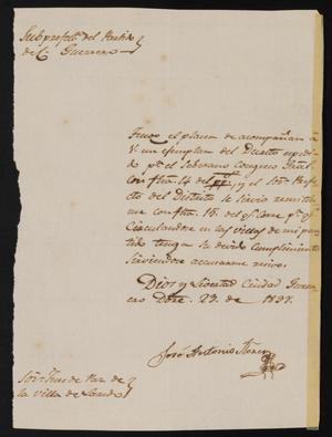 Primary view of object titled '[Letter from José Antonio Flores to the Justice of the Peace in Laredo, December 23, 1837]'.