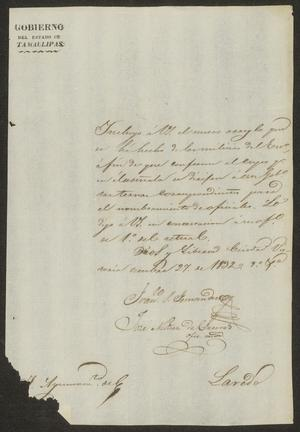 Primary view of [Letter from the Governor to the Laredo Ayuntamiento, October 27, 1832]