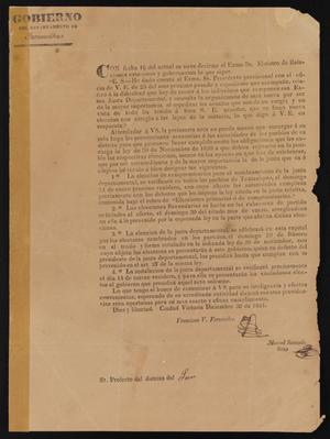 Primary view of object titled '[Decree from the Governor of Tamaulipas]'.
