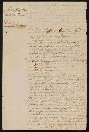 Primary view of object titled '[Letter from Policarzo Martinez to Justice of the Peace Ramón, February 2, 1841]'.