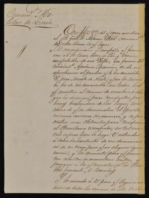Primary view of object titled '[Letter from the Comandante Militar to the Laredo Alcalde, July 15, 1842]'.