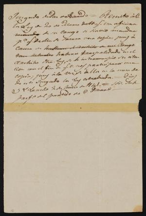 Primary view of object titled '[Letter from the Laredo Justice of the Peace to Policarzo Martinez, June 2, 1841]'.