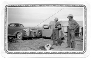 Primary view of object titled 'Lee Harrington and Oscar Wells at the Oil Well on the Brite Ranch'.