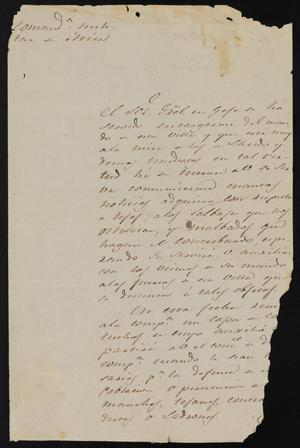 Primary view of object titled '[Letter from Manuel Lafuente to the Laredo Justice of the Peace, February 13, 1841]'.