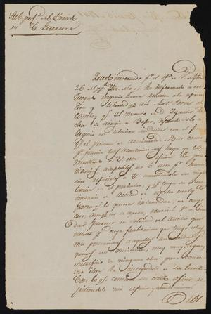 Primary view of object titled '[Letter from Policarzo Martinez to the Laredo Justice of the Peace, March 5, 1841]'.