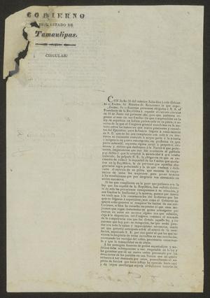 Primary view of [Printed Circular to the Laredo Ayuntamiento, August 9, 1834]