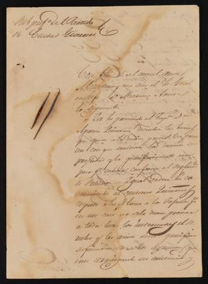 Primary view of object titled '[Letter from Policarzo Martinez to the Justice of the Peace in Laredo, August 18, 1841]'.