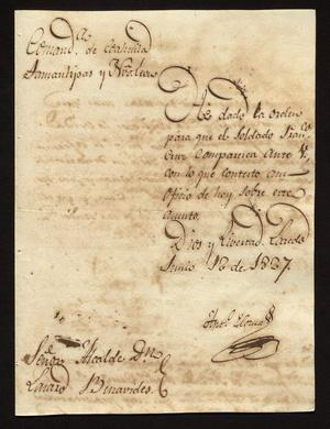 Primary view of [Letter from Antonio Elosua to José Lázaro Benavides, June 12, 1827]