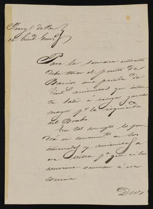 Primary view of object titled '[Letter from Antonio Cuellar to the Laredo Justice of the Peace, August 2, 1841]'.