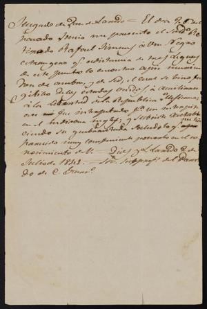 Primary view of object titled '[Letter from the Justice of the Peace to Comandante Lafuente, July 2, 1841]'.