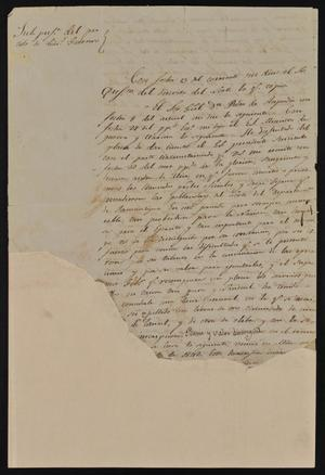 Primary view of [Torn Letter from Rafael Uribe to a Laredo Official, February 17, 1843]