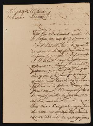 Primary view of object titled '[Letter from Policarzo Martinez to the Justice of the Peace in Laredo, August 27, 1841]'.
