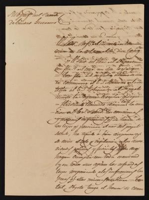 Primary view of object titled '[Letter from Policarzo Martinez to the Laredo Justice of the Peace, August 24, 1841]'.