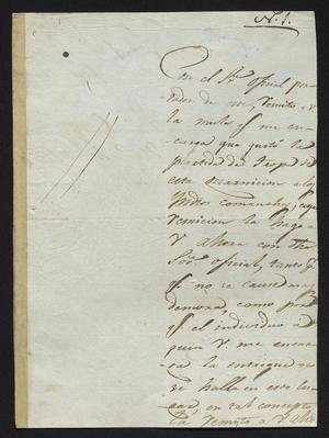 Primary view of [Letter from José Rafael de la Garza to the Laredo Alcalde, March 18, 1827]