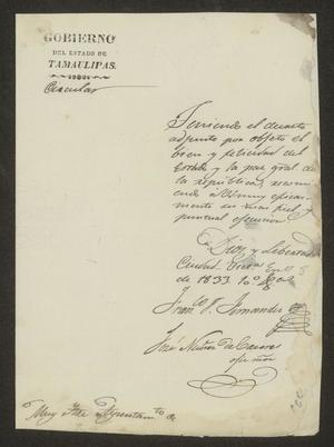 Primary view of [Letter from the Governor of Tamaulipas to the Laredo Alcalde, January 8, 1833]
