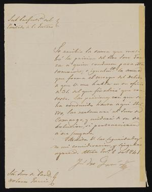 Primary view of object titled '[Letter from a Man Named García to Justice of the Peace Dolores García, January 6, 1841]'.