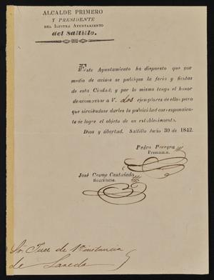 Primary view of object titled '[Announcement from Pedro Pereyra to the Laredo Justice of the Peace, July 30, 1842]'.